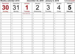 12 Week Calendar Template Weekly Calendar 2019 For Word 12 Free Printable Templates