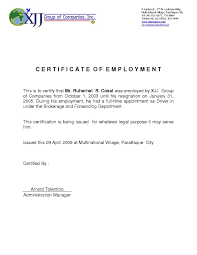 Example Of A Certificate Of Employment Example Of Certification Of Employment Filename Istudyathes
