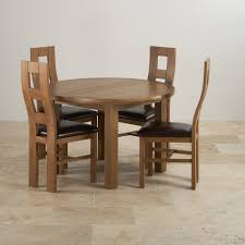 Oak Chairs For Kitchen Table Knightsbridge Round Extending Dining Table 4 Leather Chairs