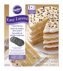 wilton easy layers 8 u0022 round cake pan set 4pc