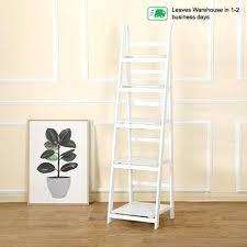 wood ladder shelf 5 tier wooden ladder shelf stand storage book shelves shelving display rack wood