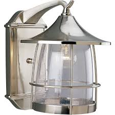 brushed nickel one light outdoor wall lantern hover to zoom