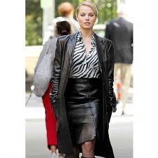 australian actress margot robbie leather coat