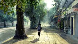 Anime Girl On Streets Hd Desktop Wallpaper Background Download