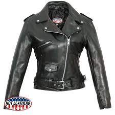 hot leathers premium usa made classic motorcycle style black leather las jacket