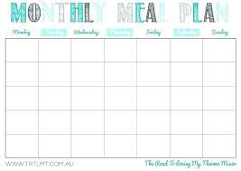 Menu Calendar Template Meal Plan Chart Template Printable Blank Menu