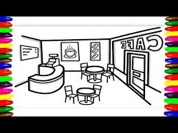 Cafe Shop Coffee Shop Restaurant Coloring Pages For Kids Children