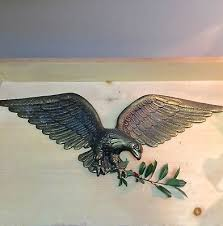 federal style vintage cast brass eagle wall hanging 24 5 wingspan