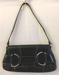xoxo womens shoulder handbag black faux leather purse silver tone hardware