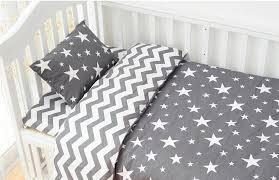 3pcs sets 100 cotton classic gray stripes stars baby bedding set twill baby bed set