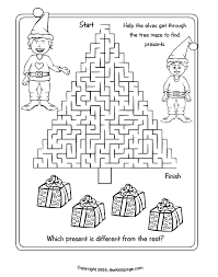 Christmas Tree Maze Free Coloring Pages for Kids - Printable ...