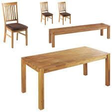 Essgruppe Royal Oak 90x180 3 Stühle 1 Bank Braun
