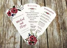 fan invitation. shabby chic wine floral petal fan wedding program invitation