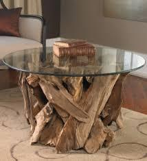 Teak Driftwood & Glass Coffee Table ...