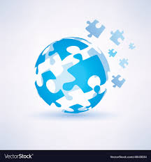 Puzzle Globe Logo Globe Made Of Puzzle Piecies Business And