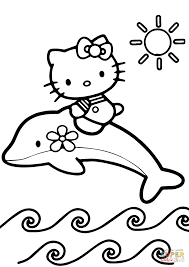 Small Picture Hello Kitty Rides a Dolphin coloring page Free Printable