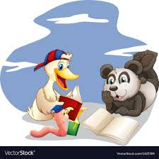 s reading books vector image