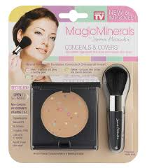 amazon magicminerals by jerome alexander 2pc kit mineral powder pact with mirror blending sponge and professional stubby brush foundation
