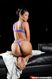 Eva Lovia gets drilled on a couch in sexy blue lingerie Digital.