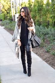 stripe poncho leather leggings 1