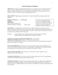 Sample Objective For Teacher Resume Sample Resume Objectives For