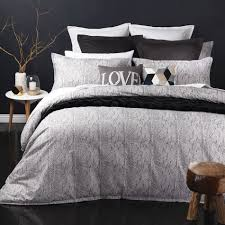 canyon charcoal quilt cover set by logan and mason