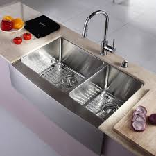 exquisite double bowl stainless farmhouse sink design with