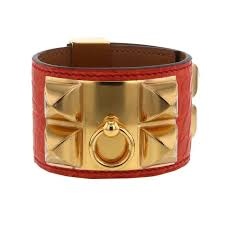 hermes médor cuff bracelet in gold plated and leather