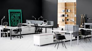 office storage space. White Canvas Storage-Based Units Delineate Space And Provide Guest Seating In An Open Office Storage