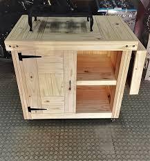 Kitchen Island Farmhouse Series 1400 Mobile With Fold Away Table Raw
