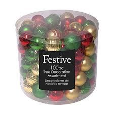 Festive <b>100 Piece</b> Assorted Ball <b>Christmas</b> Ornament, Multi