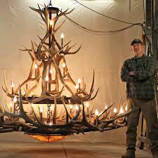 extra large elk antler chandelier mt bross l 2 tier 12 sq