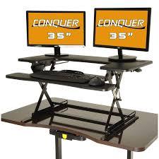 conquer height adjustable standing desk monitor riser 35 desk monitor riser 36