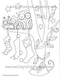 holiday owl colouring pages pdf por smileywileys en etsy