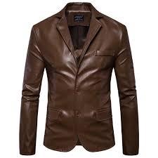 details about new mens locomotive jacket leather suit jackets men slim pu blazers coat outwear
