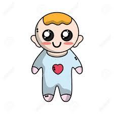 髪型と服と男のかわいい赤ちゃんのイラスト素材ベクタ Image 83422770