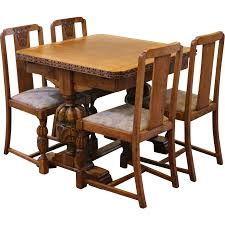 english oak pub table: antique draw leaf pub dining table and chairs set carved light oak english