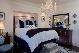 contemporary bedroom in white and blue with traditional chandelier ideas