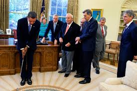 Barak obama oval office golds President Trump Filebarack Obama Takes Practice Putt In The Oval Officejpg Wikimedia Commons Filebarack Obama Takes Practice Putt In The Oval Officejpg