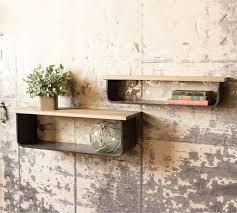 floating wood metal wall shelves