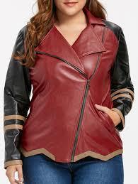 faux leather plus size color block jacket wine red xl