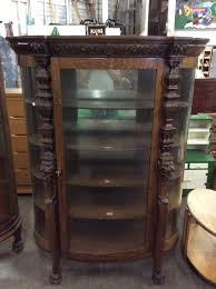 curio cabinets antique curved glass antique tiger oak victorian rounded glass end curio cabinet w urn