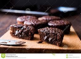 Mini Chocolate Cake Souffle On Wooden Surface Stock Image Image