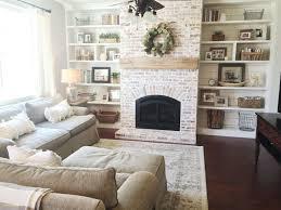 modern living room fireplace design unique built ins shiplap whitewash brick fireplace bookshelf styling