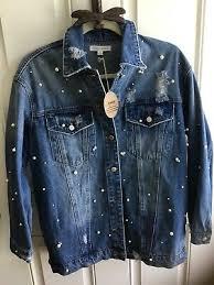 Honey Punch Distressed Denim Jacket W Pearls Size S 59 99