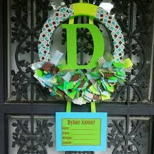 Ribbon Birth Announcement Hospital Door Wreath Without Towel Bear