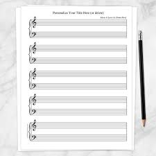 Music Paper Print Printable Personalized Piano Sheet Music Blank Piano And Vocals Personalize Title And Name Instant Download