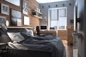 Loft Apartments In Moscow  Brick Wall  Bedroom Design  Bachelor - Loft apartment brick
