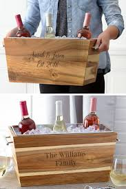 custom end acacia wood wine trough chiller in 2018 awesome gift ideas wedding gifts and wedding decorations