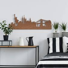 New Skyline Furnier Mahagoni Holzkunst York Wanddeko
